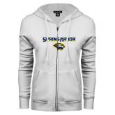 ENZA Ladies White Fleece Full Zip Hoodie-Spring Arbor with Head