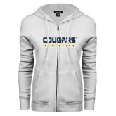 ENZA Ladies White Fleece Full Zip Hoodie-Cougars Athletics