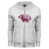 ENZA Ladies White Fleece Full Zip Hoodie-Cougar Head Pink Glitter