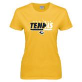 Ladies Gold T Shirt-Tennis