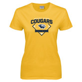 Ladies Gold T Shirt-Softball