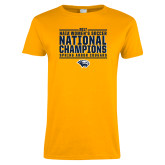 Ladies Gold T Shirt-Cougar Womens Soccer Champions