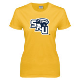 Ladies Gold T Shirt-SAU stepped with Cougar Head