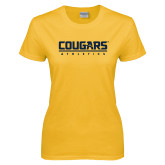 Ladies Gold T Shirt-Cougars Athletics