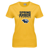 Ladies Gold T Shirt-Spring Arbor Cougars Satacked with Head