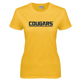 Ladies Gold T Shirt-Cougars