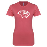 Next Level Ladies SoftStyle Junior Fitted Pink Tee-Cougar Head