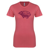 Next Level Ladies SoftStyle Junior Fitted Pink Tee-Cougar Head Hot Pink Glitter