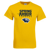 Gold T Shirt-Spring Arbor Cougars Satacked with Head