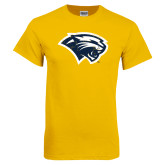 Gold T Shirt-Cougar Head Distressed