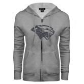 ENZA Ladies Grey Fleece Full Zip Hoodie-Cougar Head Graphite Soft Glitter