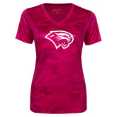 Ladies Pink Raspberry Camohex Performance Tee-Cougar Head