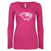 ENZA Ladies Hot Pink Long Sleeve V Neck Tee-Cougar Head