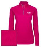Ladies Pink Raspberry Sport Wick Textured 1/4 Zip Pullover-Cougar Head