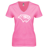 Next Level Ladies Junior Fit Deep V Pink Tee-Cougar Head