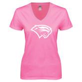 Next Level Ladies Junior Fit Deep V Pink Tee-Cougar Head
