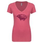Next Level Ladies Vintage Pink Tri Blend V-Neck Tee-Cougar Head Hot Pink Glitter