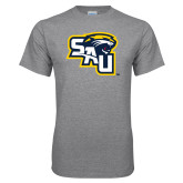 Grey T Shirt-SAU stepped with Cougar Head