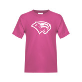 Youth Fuchsia T Shirt-Cougar Head