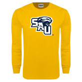 Gold Long Sleeve T Shirt-SAU stepped with Cougar Head