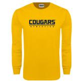 Gold Long Sleeve T Shirt-Cougars Athletics