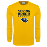Gold Long Sleeve T Shirt-Spring Arbor Cougars Satacked with Head