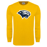 Gold Long Sleeve T Shirt-Cougar Head Distressed