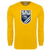 Gold Long Sleeve T Shirt-Soccer Shield
