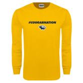 Gold Long Sleeve T Shirt-Cougar Nation