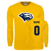 Gold Long Sleeve T Shirt-Cougar Head, Custom Tee w/ Name and #