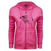 ENZA Ladies Fuchsia Fleece Full Zip Hoodie-Cougar Head