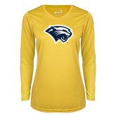 Ladies Syntrel Performance Gold Longsleeve Shirt-Cougar Head