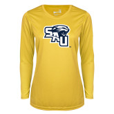Ladies Syntrel Performance Gold Longsleeve Shirt-SAU stepped with Cougar Head