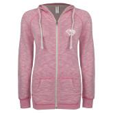 ENZA Ladies Hot Pink Marled Full Zip Hoodie-Cougar Head