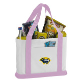 Contender White/Pink Canvas Tote-Cougar Head