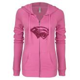 ENZA Ladies Hot Pink Light Weight Fleece Full Zip Hoodie-Cougar Head Hot Pink Glitter