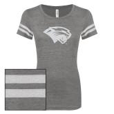 ENZA Ladies Dark Heather/White Vintage Triblend Football Tee-Cougar Head White Soft Glitter