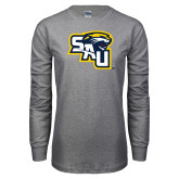 Grey Long Sleeve T Shirt-SAU stepped with Cougar Head