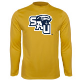 Syntrel Performance Gold Longsleeve Shirt-SAU stepped with Cougar Head