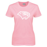 Ladies Pink T-Shirt-Cougar Head