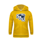 Youth Gold Fleece Hoodie-SAU stepped with Cougar Head
