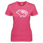 Ladies Fuchsia T Shirt-Cougar Head