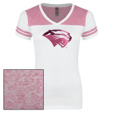 Ladies White/Bright Pink Juniors Varsity V Neck Tee-Cougar Head