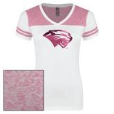 Ladies White/Bright Pink Juniors Varsity V Neck Tee-Cougar Head