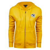 ENZA Ladies Gold Fleece Full Zip Hoodie-SAU stepped with Cougar Head