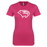 Ladies SoftStyle Junior Fitted Fuchsia Tee-Cougar Head