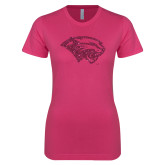 Ladies SoftStyle Junior Fitted Fuchsia Tee-Cougar Head Hot Pink Glitter