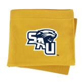 Gold Sweatshirt Blanket-SAU stepped with Cougar Head