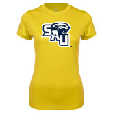 Ladies Syntrel Performance Gold Tee-SAU stepped with Cougar Head