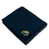 Navy Arctic Fleece Blanket-Cougar Head